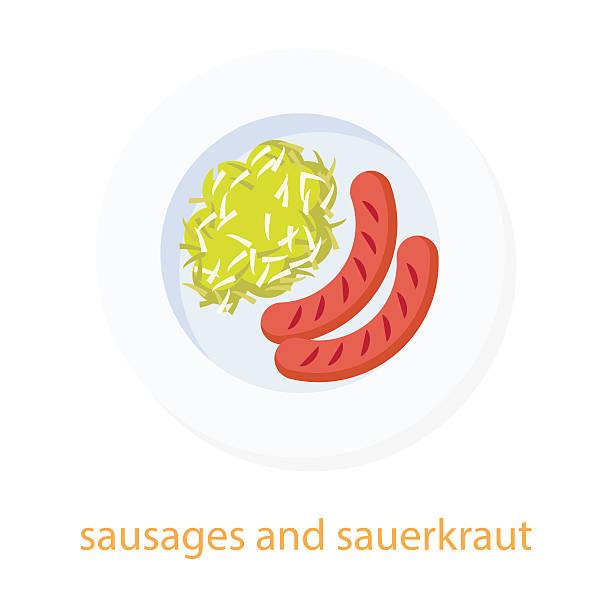 würstchen und sauerkraut - sauerkraut stock-grafiken, -clipart, -cartoons und -symbole
