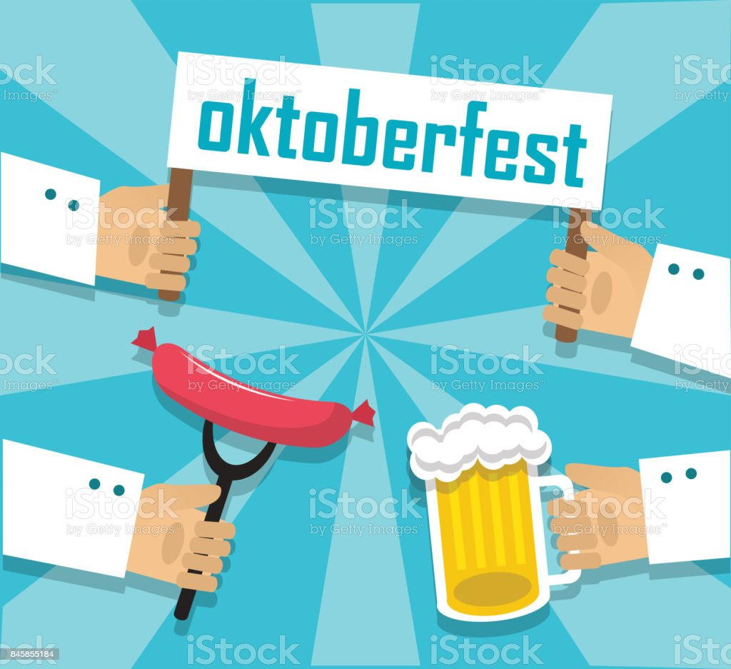 Sausages beer and oktoberfest vector art illustration