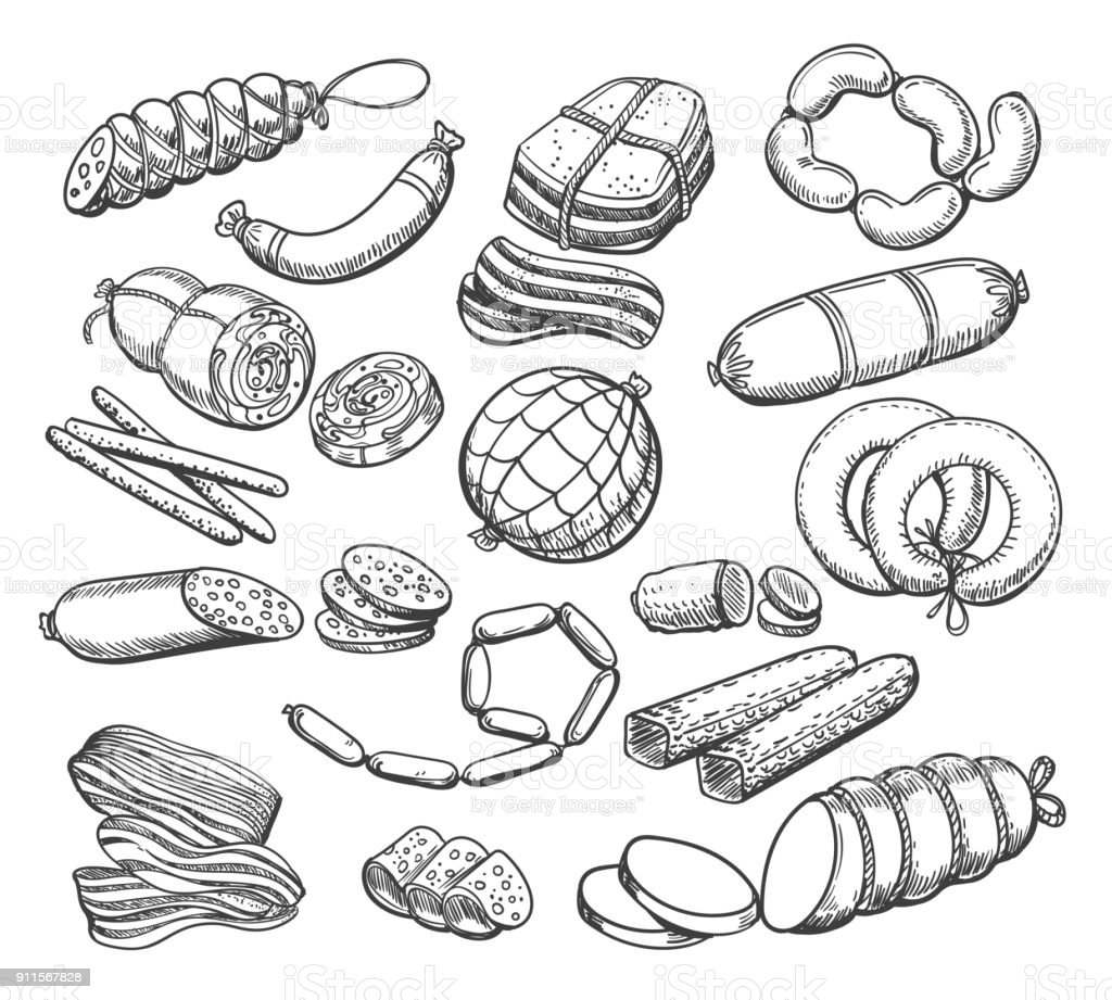 Croquis de saucisses ensemble - Illustration vectorielle