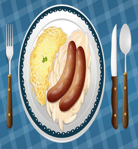 würstchen, spätzle und sauerkraut - sauerkraut stock-grafiken, -clipart, -cartoons und -symbole
