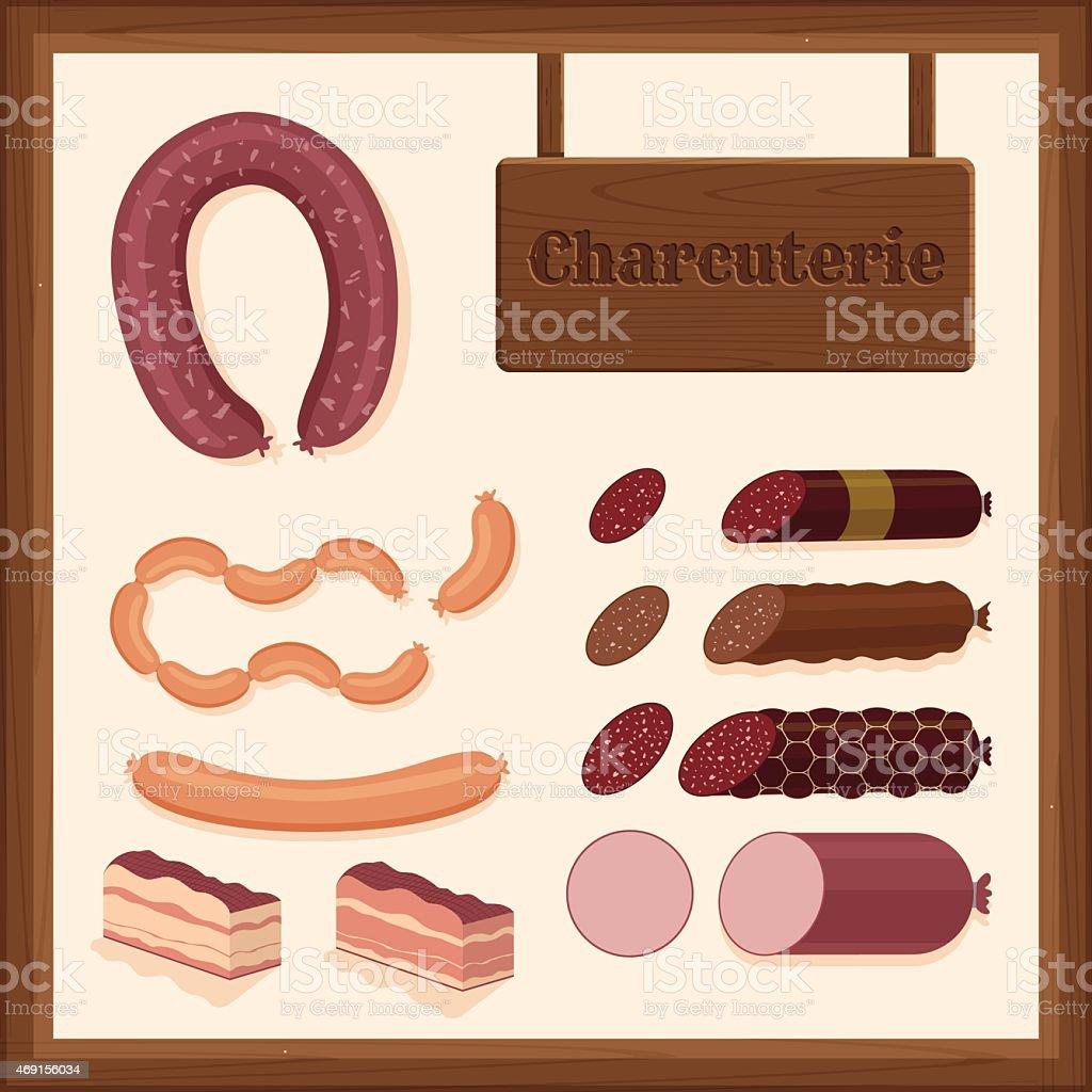 sausages vector art illustration