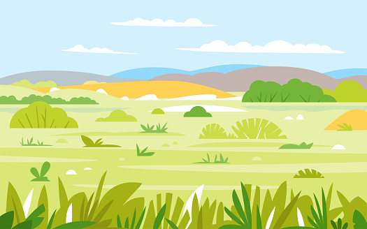 Nature landscape with grass and bushes in summer day, simple geometric stylization, wild African savannah wildlife
