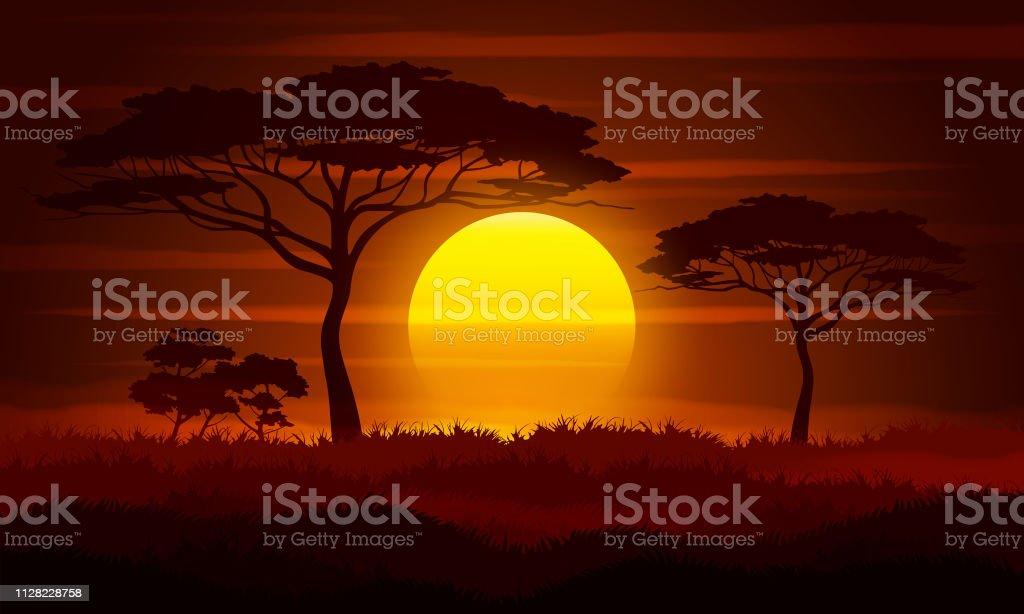 Savanna landscape vector illustration. - illustrazione arte vettoriale