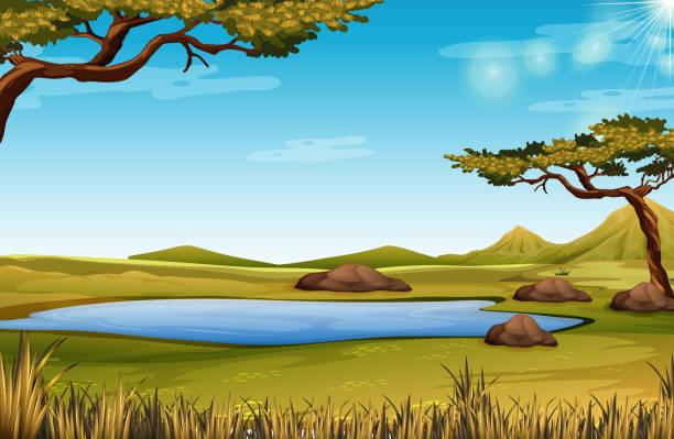 A savanna nature scene A savanna nature scene illustration pond stock illustrations