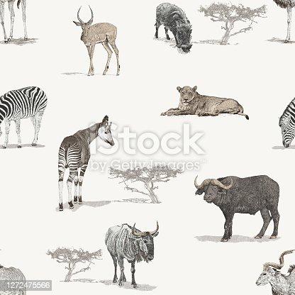istock Savannah African Animals Seamless Repeat Pattern 1272475566