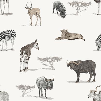 Savannah African Animals Seamless Repeat Pattern