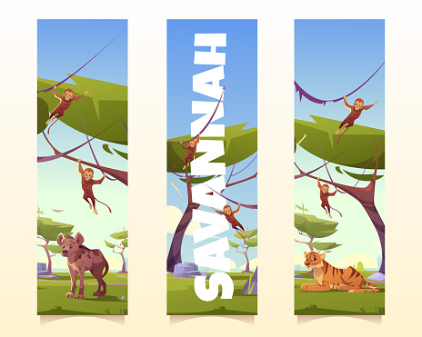 Savannah animals cartoon vertical banners set
