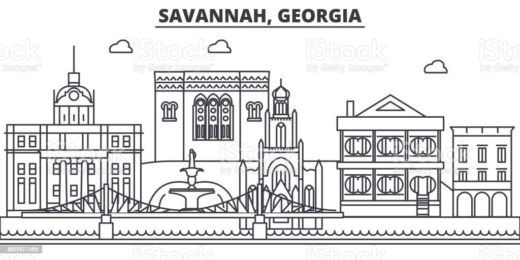Savannah, Georgia architecture line skyline illustration. Linear vector cityscape with famous landmarks, city sights, design icons. Landscape wtih editable strokes vector art illustration
