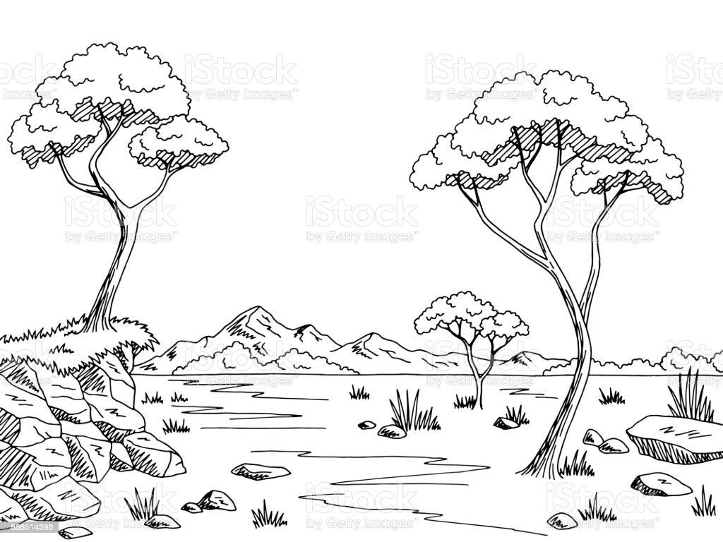 Savannah graphic black white landscape sketch illustration vector - illustrazione arte vettoriale