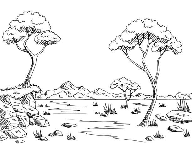 サバンナ グラフィック黒白い風景スケッチ イラスト - 草原点のイラスト素材/クリップアート素材/マンガ素材/アイコン素材