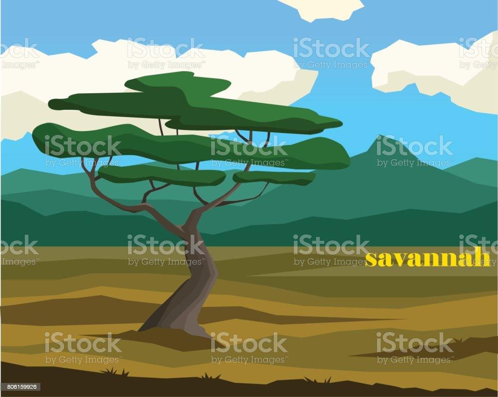 Savannah landscape with lettering. Simple vector illustration vector art illustration