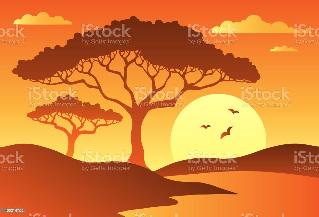 Savannah scenery with trees 1 vector art illustration