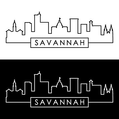Savannah skyline. Linear style. Editable vector file.