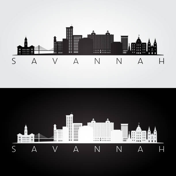 stockillustraties, clipart, cartoons en iconen met savannah usa skyline en bezienswaardigheden silhouet, zwart / wit ontwerp, vectorillustratie. - savanne