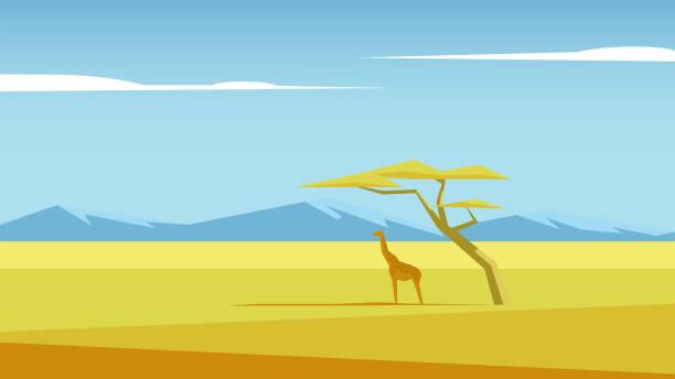 stockillustraties, clipart, cartoons en iconen met vector savannelandschap - vlakte