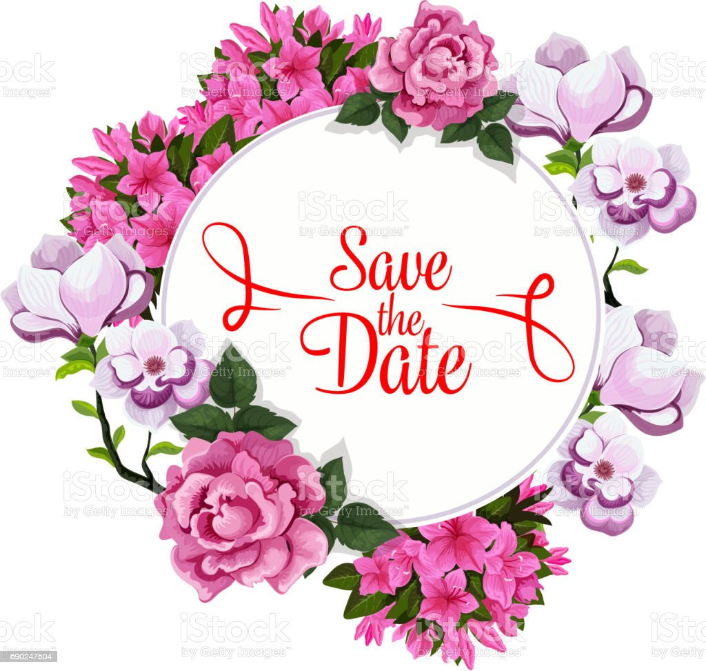 Save Date Wedding Greeting Vector Floral Template Stock Vector Art