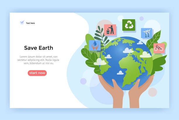Save Earth concept illustration. Save Earth concept illustration, Environment poster, vector flat design energy efficient stock illustrations