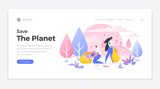 Save ecology of planet landing page banner. Man and woman collect abandoned garbage in bags.