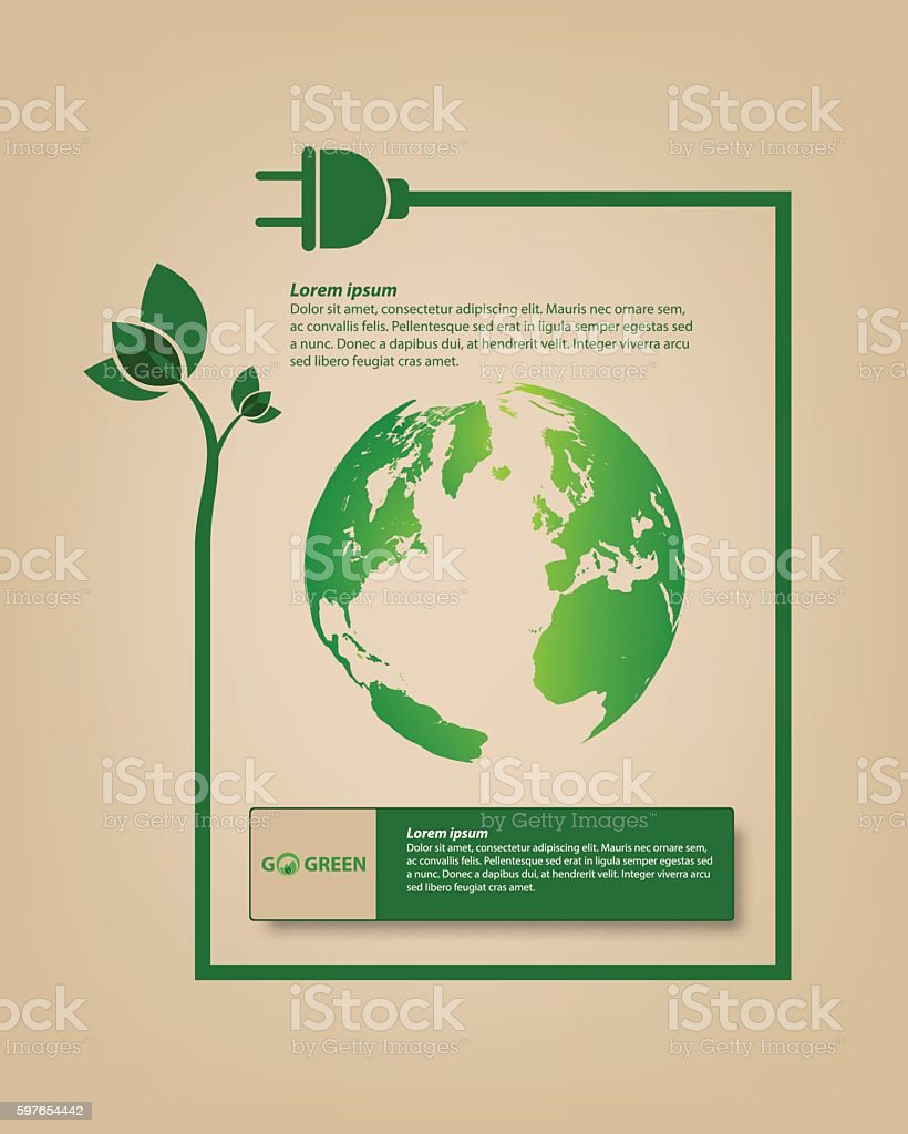 Save energy for earth vector art illustration