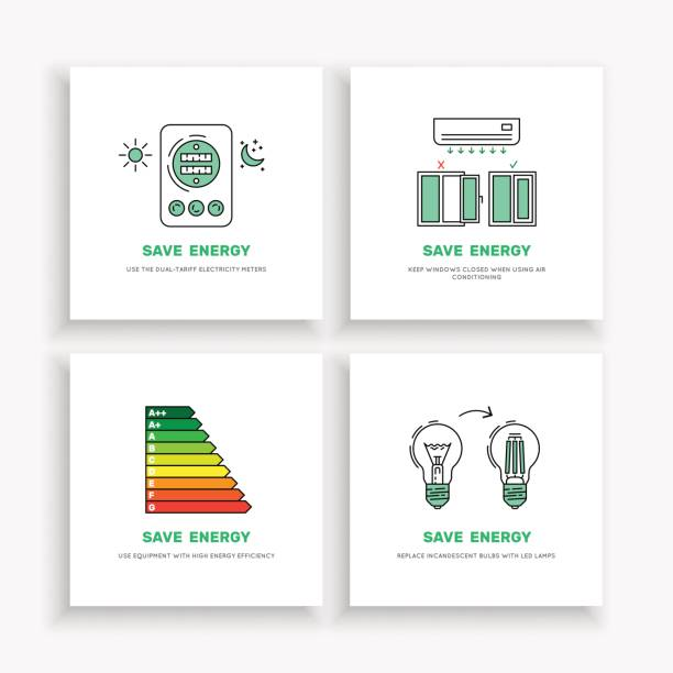 save energy home - energy saving stock illustrations, clip art, cartoons, & icons