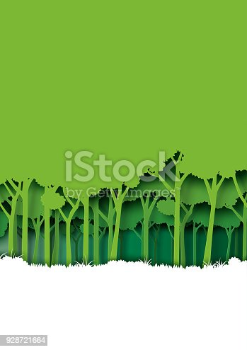 istock Save eth earth and nature landscape concept paper art style design. 928721664