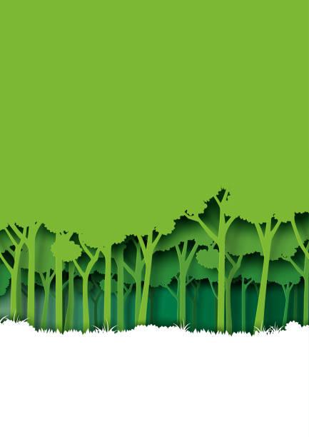 illustrations, cliparts, dessins animés et icônes de enregistrez eth terre et nature paysage concept papier art style design. - développement durable