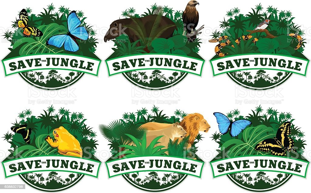 save jungle emblems with animals set vector art illustration