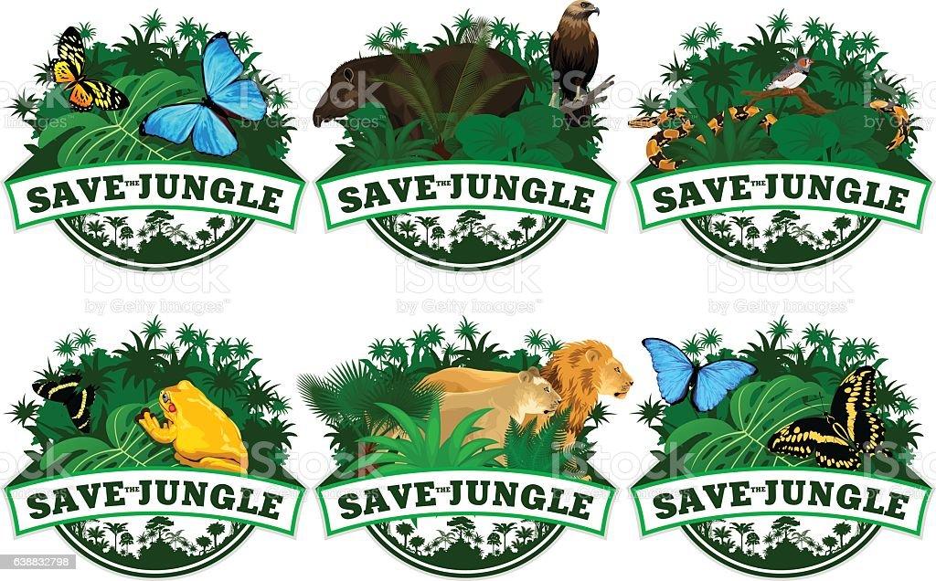 save jungle emblems with animals set vector art illustration