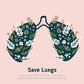 Save lungs illustration concept with flowers, ecology vector design, clean earth.