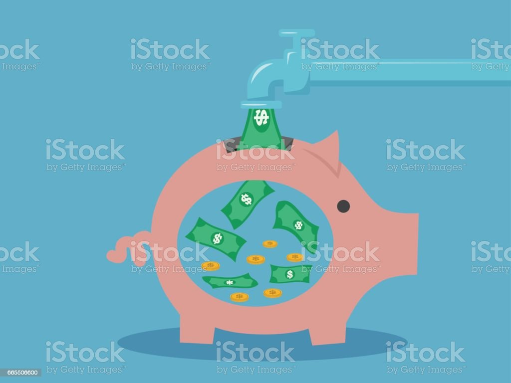 Save money concept .piggy bank money box. Vector design vector art illustration