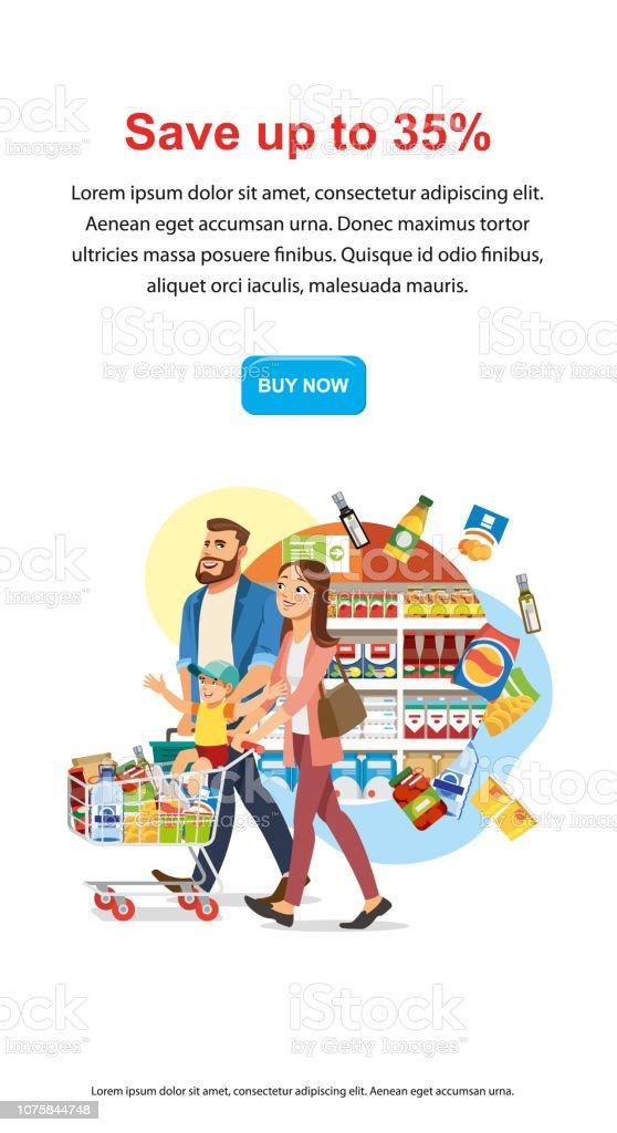 Save Money Discount in Food Shop Vector Web Banner vector art illustration