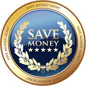 Save money now golden medal with a laurel wreath.
