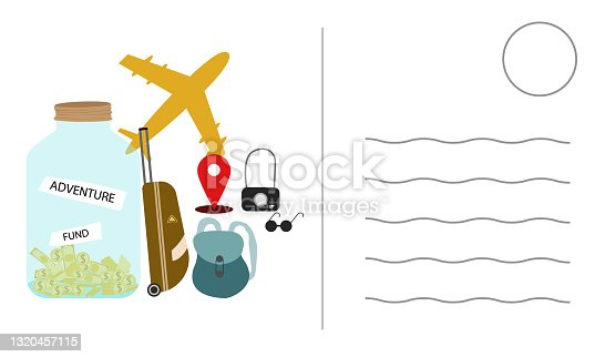 istock save money to travel. Plan to save money for tourism.Postcard Design concept travel.Vector Illustration. 1320457115