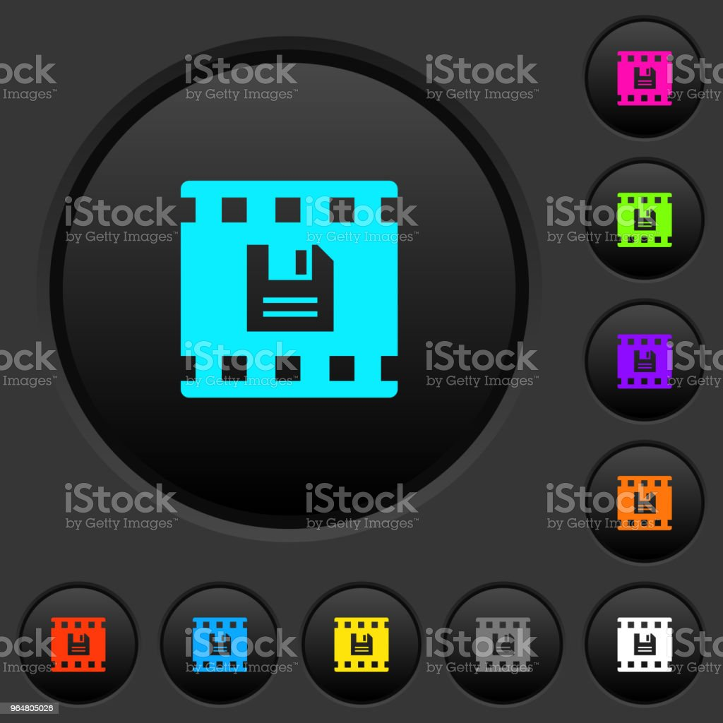 Save movie dark push buttons with color icons royalty-free save movie dark push buttons with color icons stock vector art & more images of backup