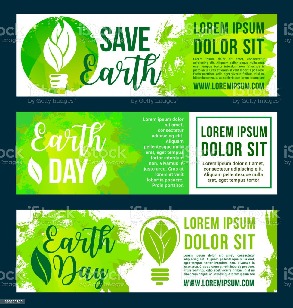 Save nature and earth environment vector banners - Illustration vectorielle