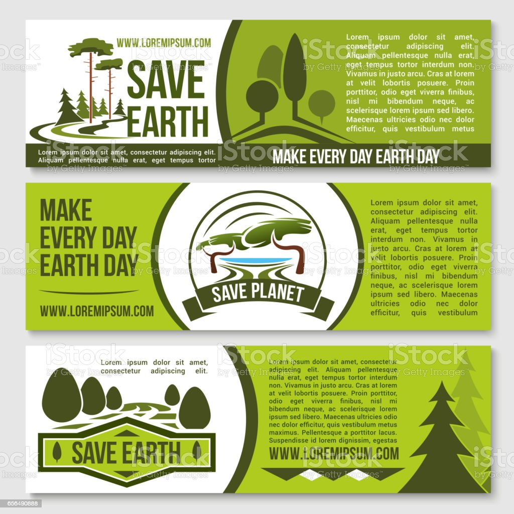 Save nature planet earth protection vector banners ベクターアートイラスト