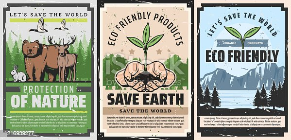 Save Earth and Protect Planet vintage posters, ecology and environment conservation project. Vector nature protection and eco friendly products, alternative energy and power generation