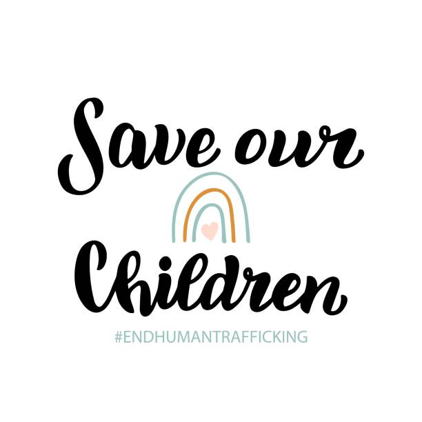 Save our children banner. End people trade poster. Lettering to illustrate problem with children and human kidnapping. Social issue font. Vector eps 10. Save our children banner. End people trade poster. Lettering to illustrate problem with children and human kidnapping. Social issue font. Vector eps 10. human trafficking stock illustrations