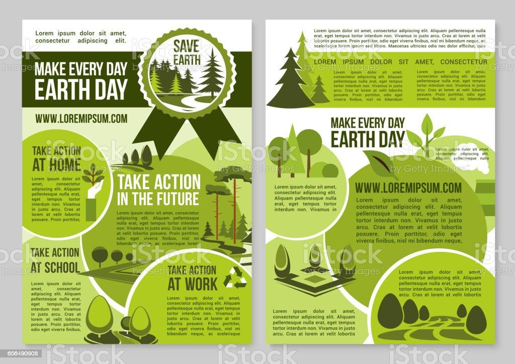 Guardar carteles de naturaleza planeta anuncio dia de la tierra - ilustración de arte vectorial