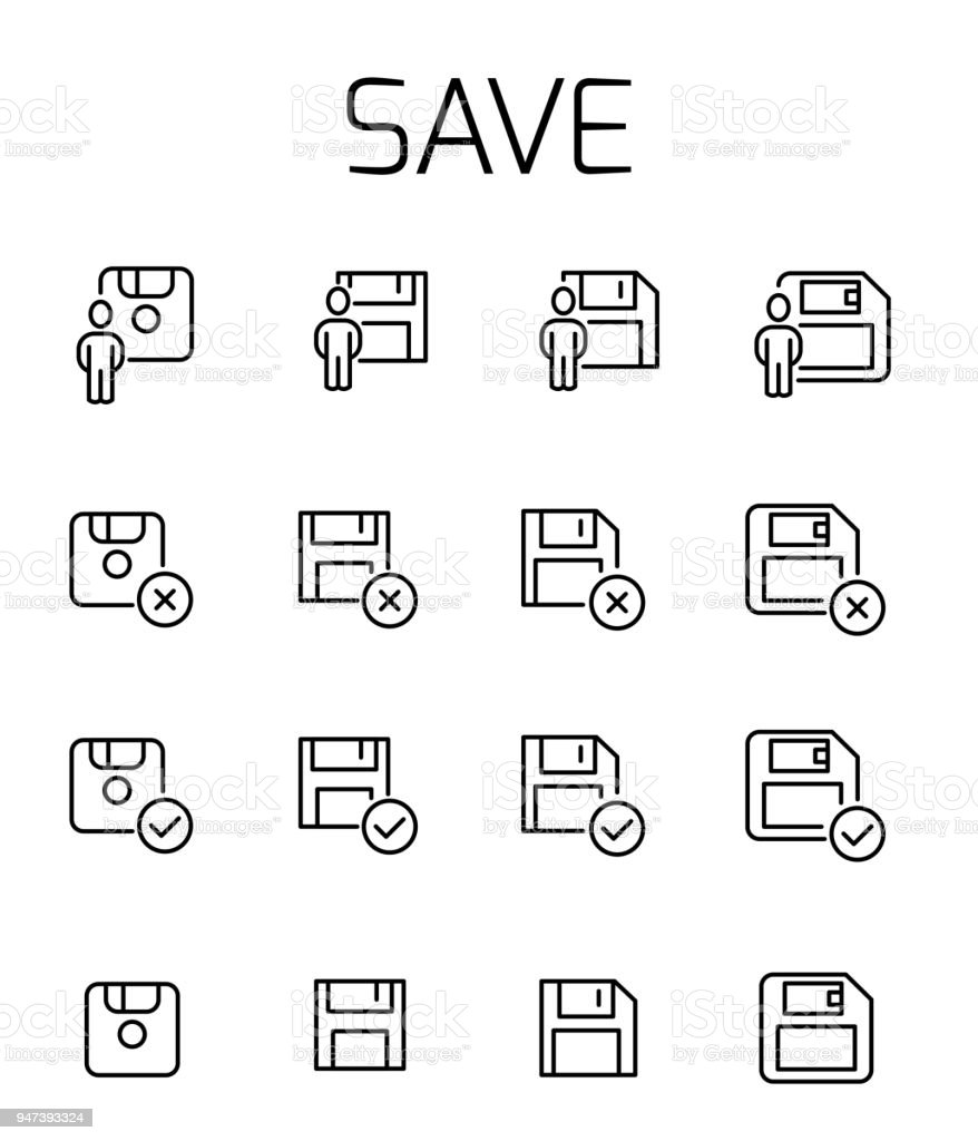 Save related vector icon set vector art illustration