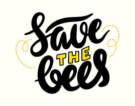 Save the Bees Lettering or Calligraphy, Creative Banner, Font for World Bees Day and Environmental Protection