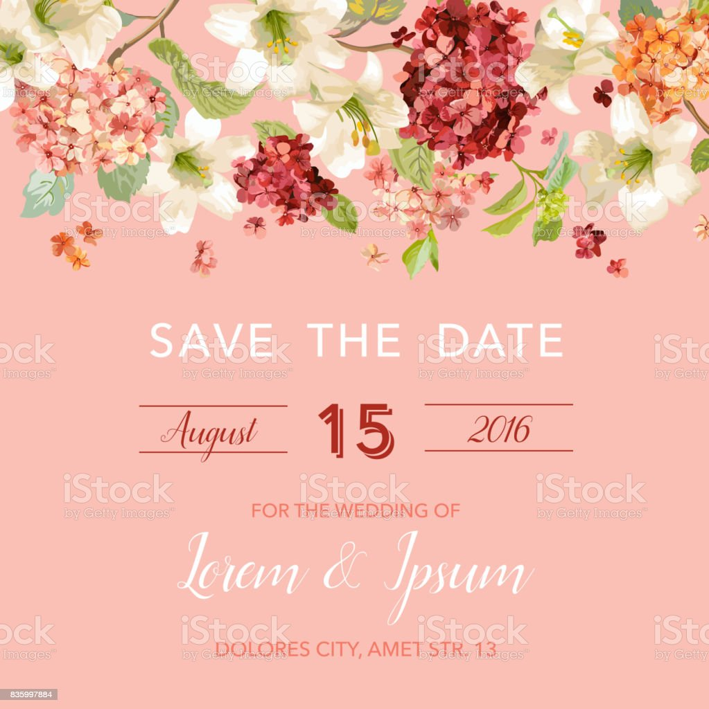 save the date autumn and summer floral card in watercolor style