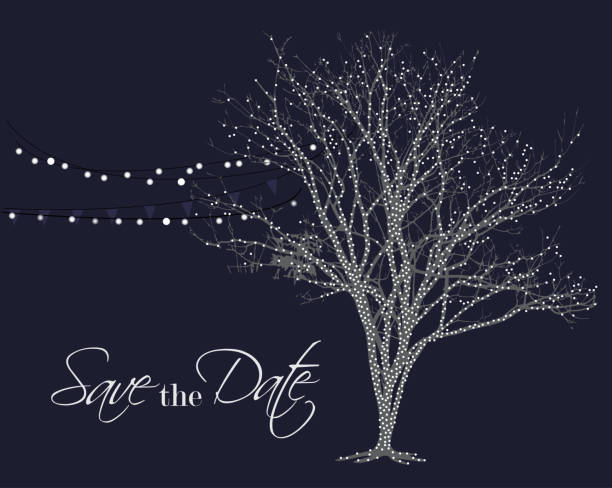 save the date background - light through trees stock illustrations