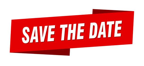 die datumsbannervorlage speichern. speichern des datumsband-etikettenzeichens - save the date stock-grafiken, -clipart, -cartoons und -symbole
