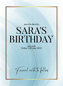 Save the date birthday party design, liquid flow in blue color with gold glitter sparkle and gold frame, holiday invitation. Tender design for wedding, greeting, poster, web, blog, article in vector.