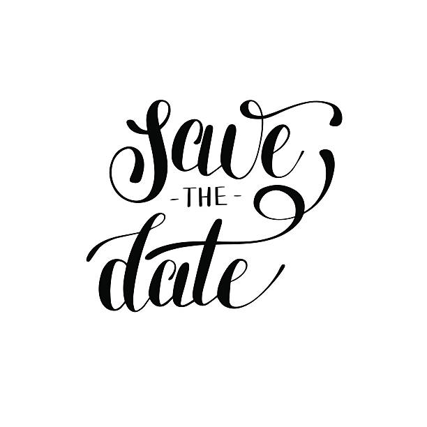 save the date black and white hand lettering inscription typogra vector art illustration