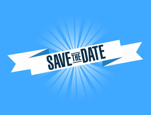 stockillustraties, clipart, cartoons en iconen met de datum heldere lint bericht opslaan - save the date