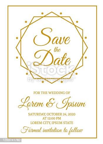 Guarde la plantilla de tarjeta de fecha. Invitación de boda de oro. Invitación de fiesta de diseño geométrico minimalista. Ilustración vectorial