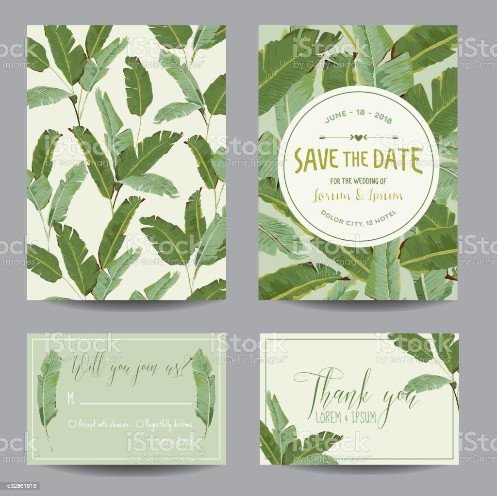 Fantastic Save The Date Card Tropical Banana Leaves Wedding Card Invitation  DM62