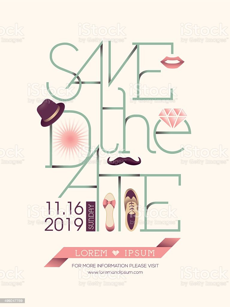 Save the date card typography vector art illustration